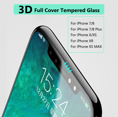2X Tempered Glass 3D Full Cover Screen Protector For iPhone 7/8 Plus X XS XR MAX