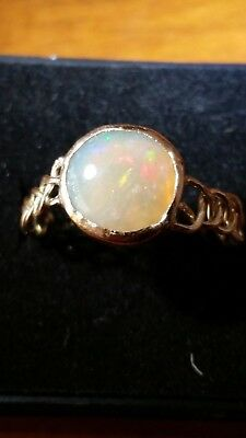 Handmade 9k gold ring solitair solid crystal opal Coober Pedy