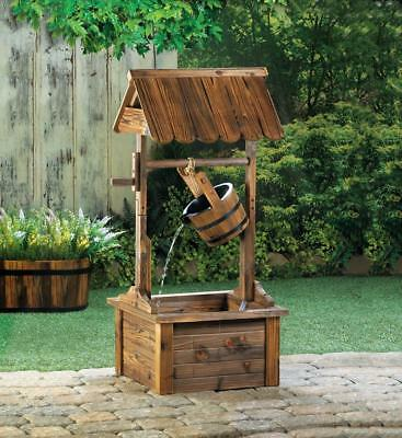 Wishing Well Wooden Outdoor Water Fountain,  Garden Decor For Your Backyard