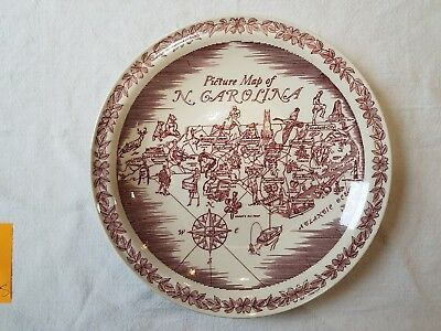 Picture Map of North Carolina Vernon Kilns Plate Venus Fly Trap, Winston Salem..