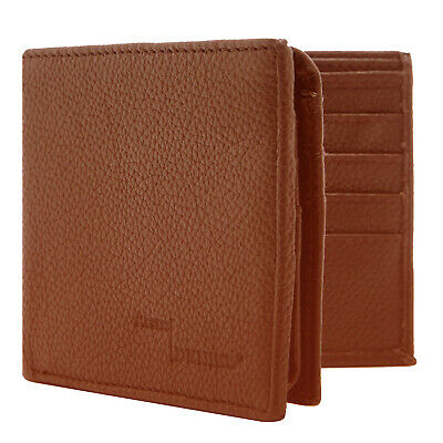 Genuine Leather Wallets For Men Bifold Wallet 2 Flip-Up ID Slots RFID Blocking