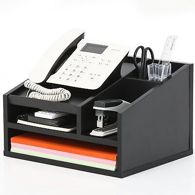 Home Office Desk Desktop Phone Stand Desk Organizer File Supplies Wood Drawer