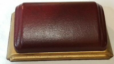 1920 Art Deco Hinged Watch Presentation Box *Leather Covered Metal Satin/ Velvet