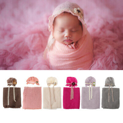 Photography Props Newborn Baby Crochet Costume Photo Caps Stretch Blanket Set