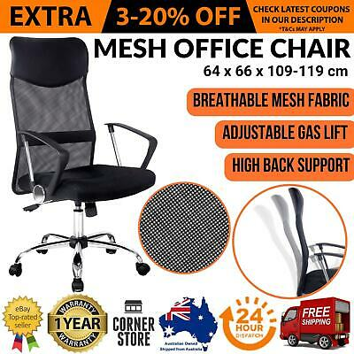New Executive High Back Mesh Computer Desk Office Chair PU Leather Tilt Black