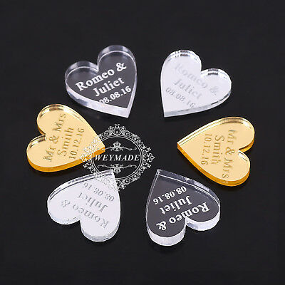 Personalized Mr & Mrs Surname Love Hearts Wedding Table Centerpieces Decoration