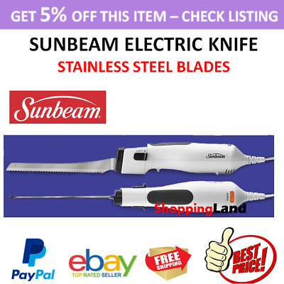 Sunbeam Electric Knife Stainless Steel Multi Purpose Meat Bread Carving Blades
