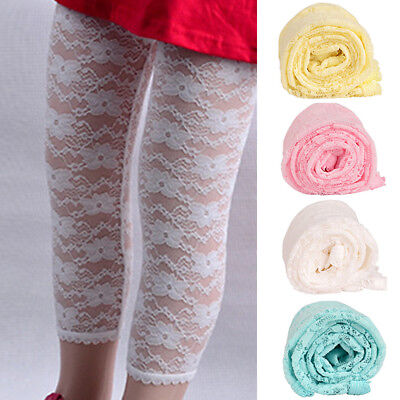 Newborn Kids Girls Infants Soft Lace Calf-Length Leggings Cropped Capris Pants