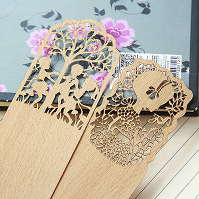 3pc* Creative Retro Hollow Out Wooden Book Marker For Books Markers Wood Bookend