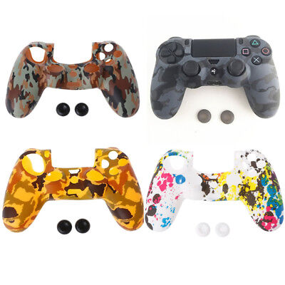 Camouflage Silicone Cover Soft + 2 Joystick Caps For 4 PS4 Controller