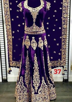 Pakistani Wedding Velvet Heavy Work Ghagra Choli Designer Indian Bridal Lehenga