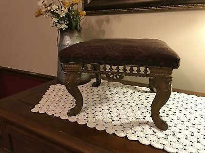"""Antique Ottoman Foot Stool Ornate Cast Iron Metal Legs Upholstery """"Attic Find"""""""