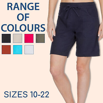 Ladies Linen Blend Shorts Pockets Summer Holiday Beach Drawstring Casual Cool