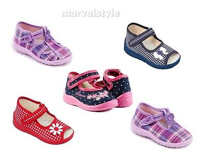 Baby Girls Canvas Shoes -Nursery Slippers- Sandals Uk Size 4-8 /Eu 20-26 Quality