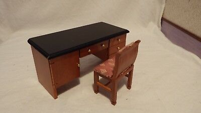 dolls house furniture light mahogany knee hole desk and chair  1.12th