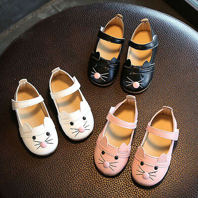 Toddler Kids Baby Girl Fashion Princess Cat Dance Nubuck Leather Single Shoes