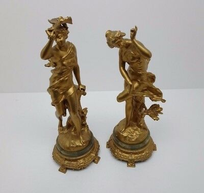 Antique French Gilt Figures X 2 Set Spelter Women Lady Ladies Marble Base