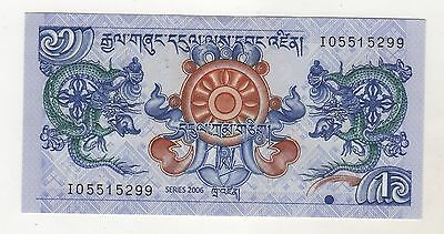 Bhutan 1 Ngultrum 2006 Pick 27 UNC Uncirculated Banknote