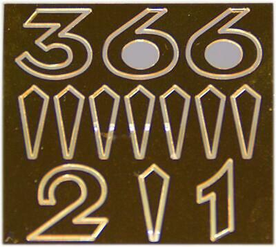 Arabic Numbers Set Made of Brass Yellow 15 mm
