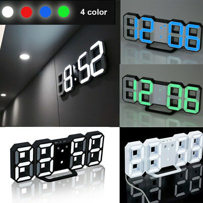 Office Gadget Wall Clock 24/12 Hour Display Home Kitchen LED Digital Numbers