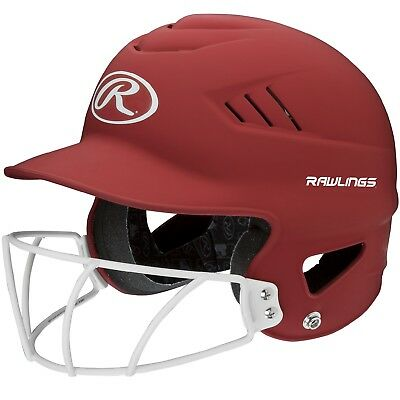 Rawlings Coolflo Highlighter Softball Helmet/Face Guard-Red RCFHLFG-MS