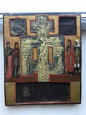 "Antique 19c Russian Orthodox Hand Painted Wood Icon ""The Crucifixion of Christ"""