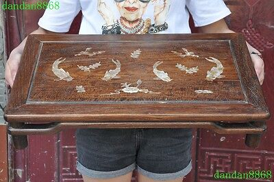 "24""Old Chinese Huanghuali wood inlay shell carving lotus goldfish tea table desk"