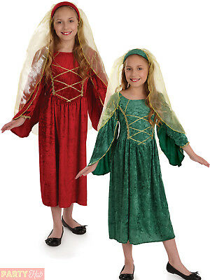 Girls Tudor Princess Costume Childs Medieval Queen Fancy Dress Book Week Outfit