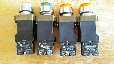 Lot of 4 TELEMECANIQUE 1   Z..BW01 WHITE , 1 GREEN/ 2 Z..BWO3 AMBER 2