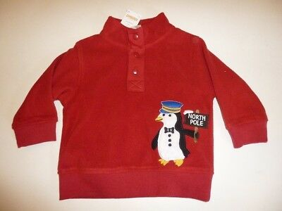 Gymboree North Pole Express Red Fleece Penguin Shirt 6-12 12-24 2T-3T 4T-5T NEW