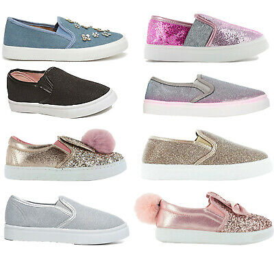 Girls Kids Infants Juniors Slip On Flat Plimsolls Sneakers Skater Trainers Pumps