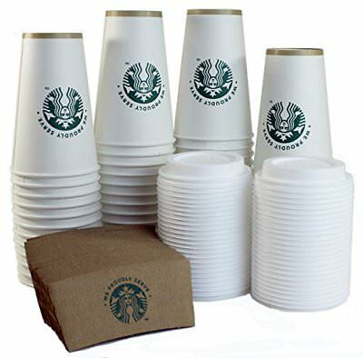Starbucks White Disposable Hot Paper Cup Sleeves and Lids Pack Of 50 Each 16 Oz
