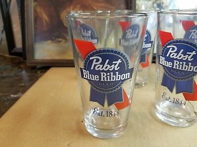 Vintage Pabst Blue Ribbon Beer Glasses