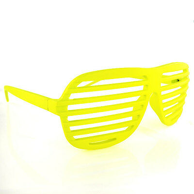 Full Shutter Glasses Shades Sunglasses Club Party YELLOW 80s shuttershades