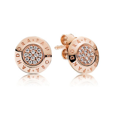 Pandora Signature Stud Earrings 14ct Rose Gold Genuine 925 Sterling Silver