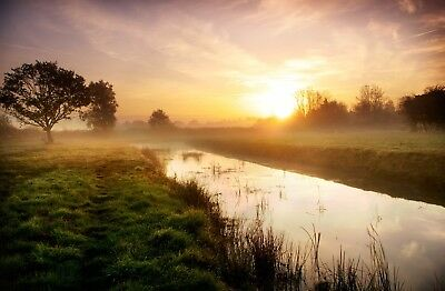 Morning Near Oulton Broads Norfolk Boats Holiday Canvas Picture Wall Art Print