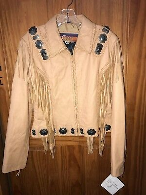 CRIPPLE CREEK Women's Tan Size M Leather Western Jacket With Fringe CL12974 NWT