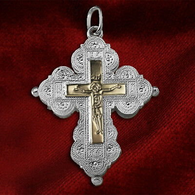 Silver 925-Gold plaque 14K Christian Orthodox Byzantine Reliquary Cross Sterling