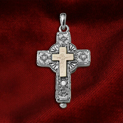 Sterling Silver 925-Gold plaque 14K Christian Orthodox Byzantine Reliquary Cross