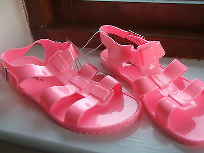 2 Pair Pink Flat Peep Toe Jelly Sandals Sz UK 3/4 + 7/8 Gladiator Summer Job Lot