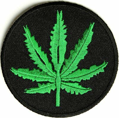 Vintage Embroidered Iron-on Clothing Patch Skull Smoking Marijuana Pot Weed