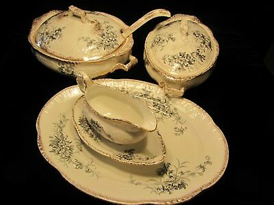 Large Set of Antique Lincoln  Serving Plate,  Soup & Vegetable Bowl England
