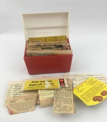 Vtg Robin Hood Flour Recipe Box Red White Plastic Filled Hand written Clipped