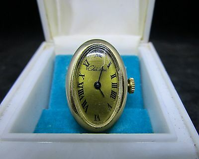 Vintage Chateau Gold Tone Oval Shaped Wind Up Finger Ring Watch NEEDS REPAIR