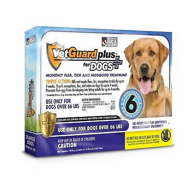 VetGuard Plus Flea Tick Treatment for X-Large Dogs, Over 66 lbs, 6 Month Suppl