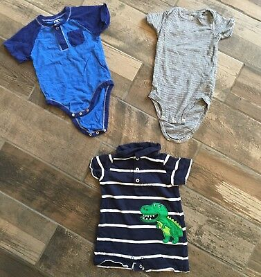 Lot Infant Toddler Boys 18M 18 Months One Piece Romper Carters Old Navy Dinosaur