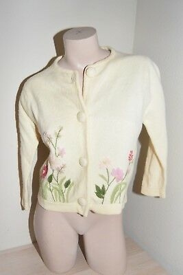 Vtg 60s BARBARA LEE thick  Wool Angora Floral embroidered cardigan sweater S/M