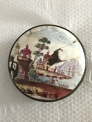 Antique 18th Century Russian Porcelain Top Snuff or Patch Box