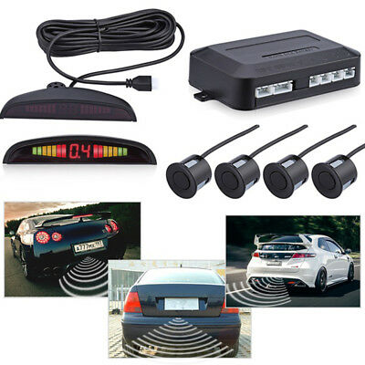 4 Parking Sensors Buzzer Car Reverse Backup Rear Radar System Sound Alarm Black