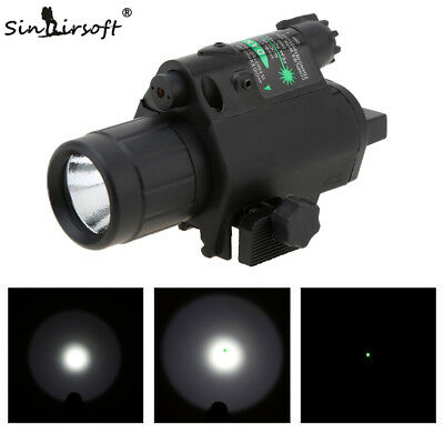 2 In 1 Tactical Combo LED Flashlight &Green/RED Laser Light Sight Picatinny Rail